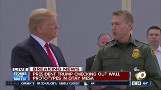 President Trump checking out wall prototypes in Otay Mesa - Video