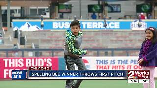Spelling Bee Winner Throws out Drillers First Pitch - Video
