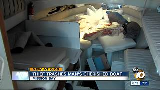 Thief trashes man's cherished boat - Video