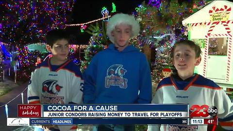 Junior Hockey selling cocoa for a cause