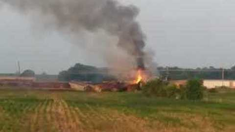 Derailed Train Catches Fire in Princeton, Indiana