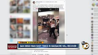 San Diego man shot twice shielding others from bullets - Video