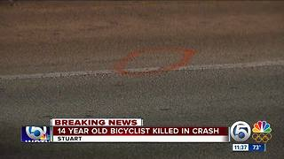 14-year-old bicyclist struck, killed by vehicle in Stuart - Video