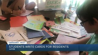 Students send cards to elderly residents at assisted living facility