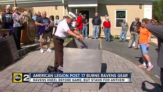 Veterans burn Ravens gear in Edgewood - Video