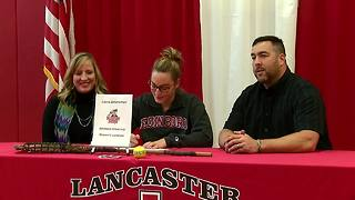 Laura Zimmerman signs scholarship - Video