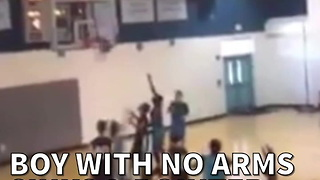 Boy With No Arms Sinks 3-pointer At The Buzzer - Video