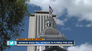 Florida's minimum wage increase will take effect January 1, 2019