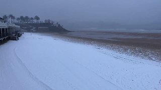 Storm Emma Covers Santander Beaches With Snow