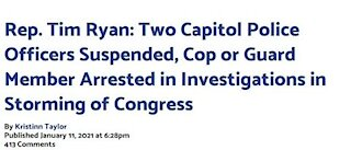 National Guard member or Capitol cop was arrested, 15 cops investigated