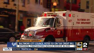 Baltimore city council passes first responders tax credit bill