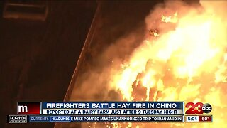 Firefighters battle hay fire in Chino