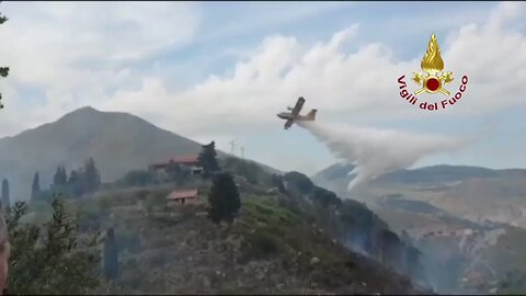 Planes Douse Brush Fire in Sicilian Mountains