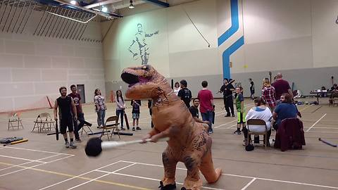 T-Rex tries live action role-playing, gets destroyed