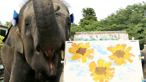 A real botti-nelly: Talented elephant shows off paintings and self-portraits