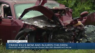 Crash kills mom and injures three children on Detroit's east side