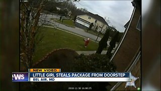 Young girl caught on video stealing package from doorstep