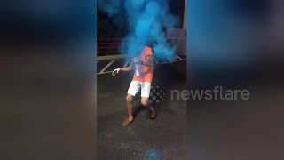 It's a boy - man explodes gender reveal firework in face - Video