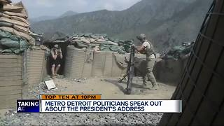 Metro Detroit politicians speak out about President Trump's Afghanistan address - Video