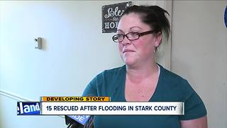 15 rescued from apartment building after flooding in Stark County - Video