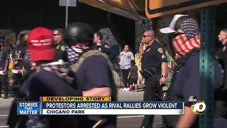 Protestors arrested as rival rallies grow violent - Video
