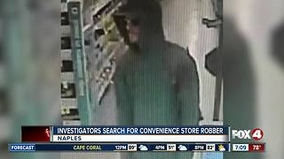 Investigators search for convenience store robber in Naples - Video
