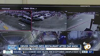 Driver crashes into restaurant after car wash in Rancho Penasquitos