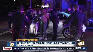 Man accused of leading chase arrested at gunpoint