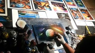 Talented Artist Creates Detailed Space Painting In Minutes - Video