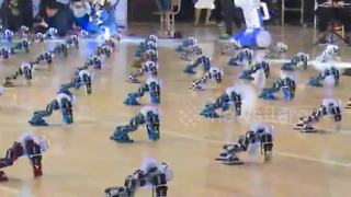 Hundreds of robots perform kung fu choreography at creative design competition - Video