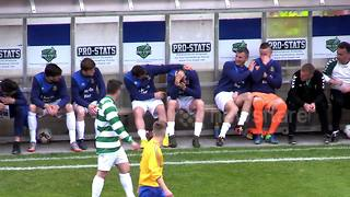 Footballer on bench gets involved after receiving painful ball to head