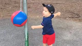 Boy Playing With Tetherball Gets Hit In Face - Video