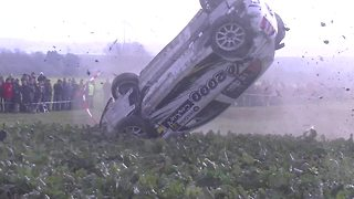 Spectacular crash during rally race in Belgium - Video