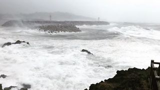 Waves Crash Against Jeju Island as Typhoon Soulik Lashes South Korea