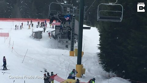 Boy Hangs From 20-Foot-High Ski Lift Chair Before Being Caught By Fellow Skiers