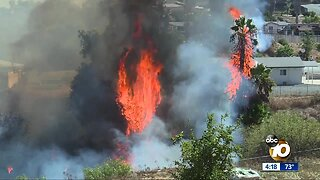 Crews stop brush fire that erupted near homes in Skyline