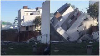 A house completely collapses in a matter of seconds