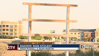 The Raiders sign is missing, county commissioner says - Video