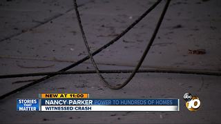 Car crashes into power pole in Point Loma - Video