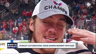 T.J. Oshie cries, talking about dad in Stanley Cup celebration - Video