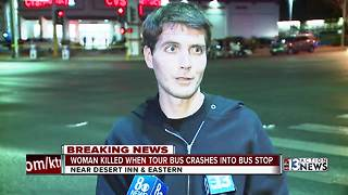Woman killed when tour bus crashes into bus stop - Video
