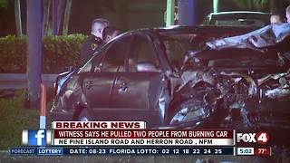 Witness saved people from burning car, following crash - Video