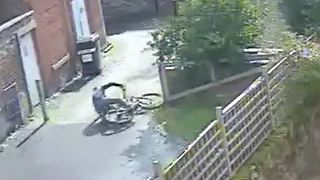 Bike thief takes a tumble
