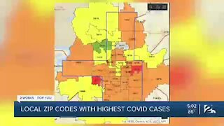 Local zip codes with highest COVID-19 cases