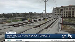 New trolley line from border to UTC nearly done