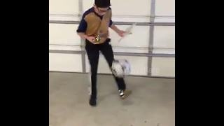 Boy Solves Rubik's Cube With One Hand While Dribbling Soccer Ball - Video