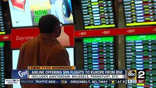 WOW Air offering $99 flights to Europe from BWI - Video
