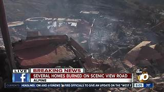 Several homes burned on Scenic View Road during Alpine fire - Video