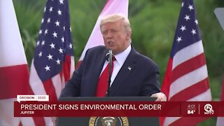 President Donald Trump visits Jupiter Inlet Lighthouse, extends ban on offshore oil drilling