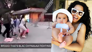 Blac Chyna PUNCHES People Trying To Touch Dream At Six Flags Magic Mountain! - Video